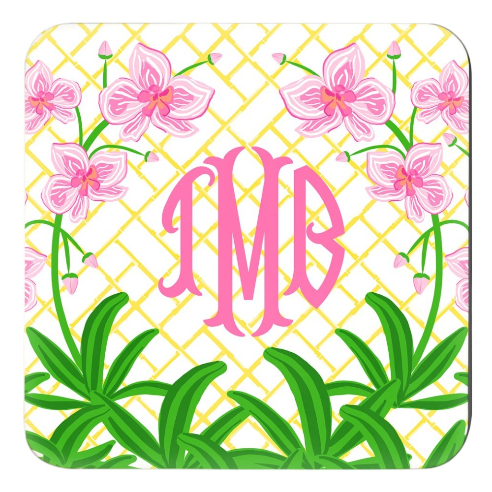 Pink Orchid Personalized Cork Backed Coasters - Set of 4