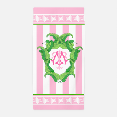 Pink Banana Leaf Custom Crest Beach Towel