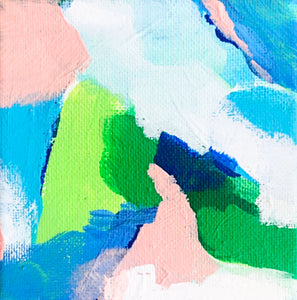 """Pool Party II"" Original Abstract Artwork, 4""x4"""