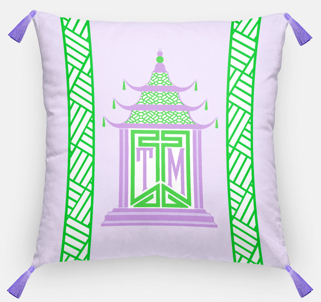 Royal Pagoda Personalized Pillow, Amethyst,18