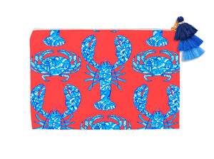 Chinois Lobsters & Crabs, Geranium, Cosmetic Bag