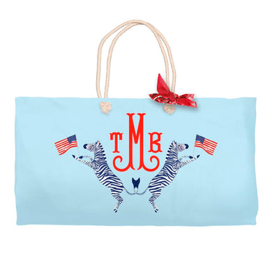 Red, White & Zebra Personalized Tote Bag