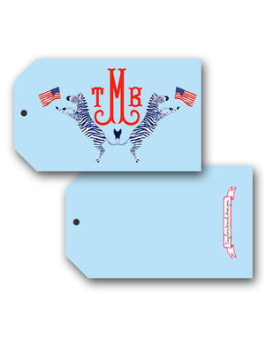 Red, White & Zebra Personalized Hang Tags