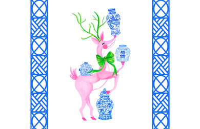 Ginger Jar Juggle Holiday Paper Tear-away Placemat Pad, Blue & White