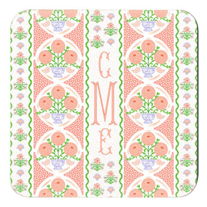 "Ribbons in Bloom Personalized 4""x 4"" Paper Coasters, Begonia"