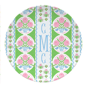 "Ribbons in Bloom Set of (4) Personalized 10"" Dia. Melamine Plates, Peony"