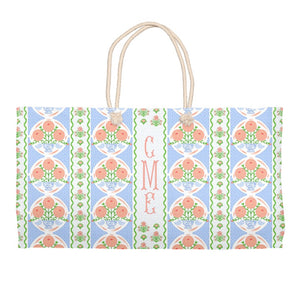 Ribbons in Bloom Personalized Tote Bag, Periwinkle