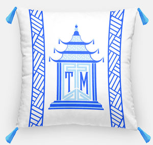 "Royal Pagoda Personalized Pillow, Sapphire,18""x18"" or 20""x20"""