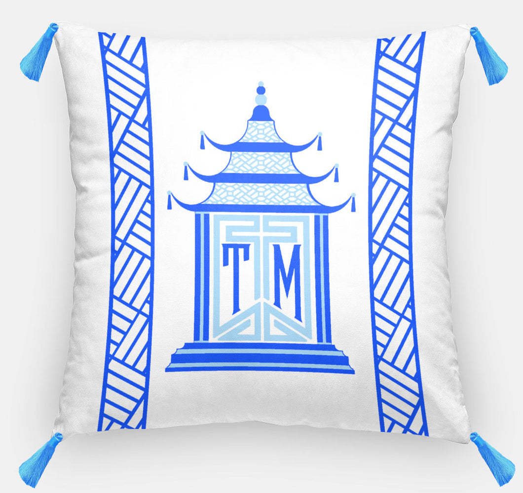 Royal Pagoda Personalized Pillow, Sapphire,18