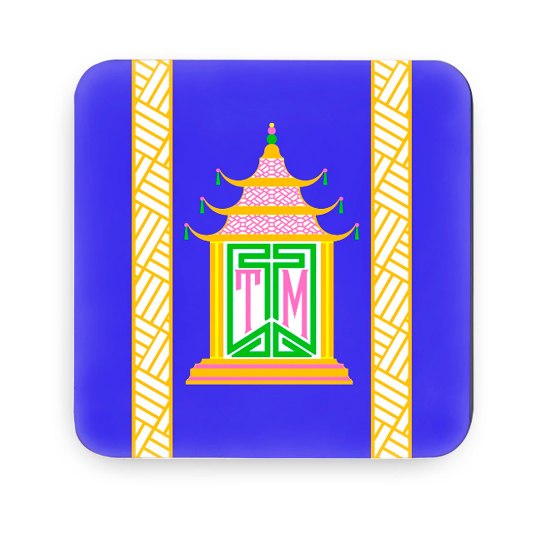 Royal Pagoda, Lapis, Cork Backed Coasters - Set of 4