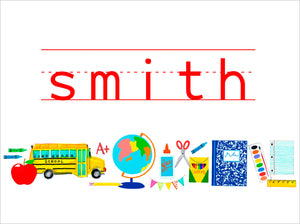 School Supplies Personalized Folded Note Cards