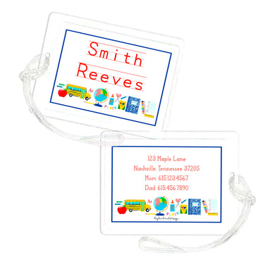 School Supplies Personalized Laminated Bag Tag