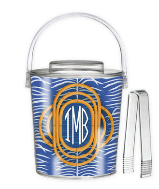 Sea Palms & Bamboo, Navy, Personalized; Ice Bucket
