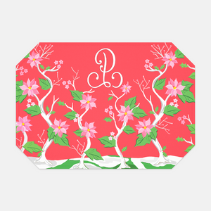 Seasonal Chinoiserie Set of (2) Personalized Fabric Christmas Placemats, Holly Berry
