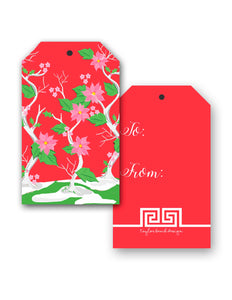 Seasonal Chinoiserie, Holly Berry, Christmas Hang Tags