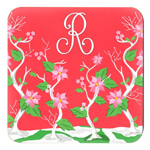 "Seasonal Chinoiserie Personalized 4""x 4"" Paper Christmas Coasters, Holly Berry"