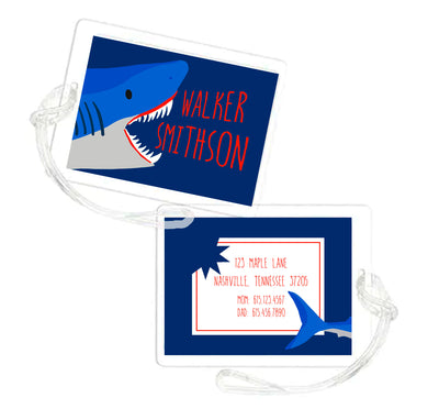 Stay Jawsome Personalized Shark Laminated Bag Tag