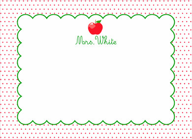 Dotted Apple Personalized Flat Note Cards