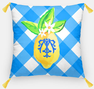 "Lovely Lemon Pillow, Grove Picnic, 18""x18"" or 20""x20"""