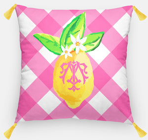 "Lovely Lemon Pillow, Party Punch,18""x18"" or 20""x20"""