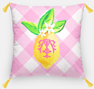 "Lovely Lemon, Pink Lemonade, Euro Pillow & Insert, 26""x26"""