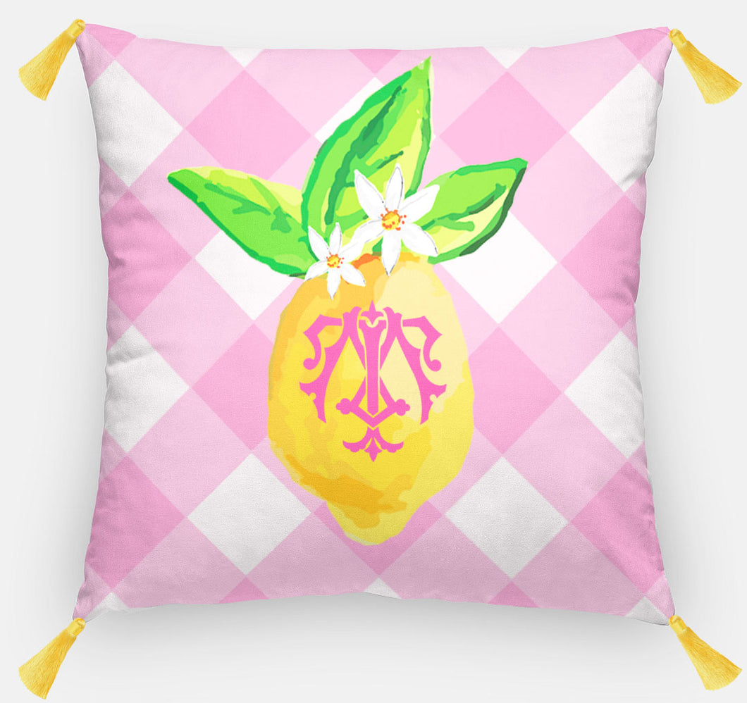 Lovely Lemon, Pink Lemonade, Euro Pillow & Insert, 26