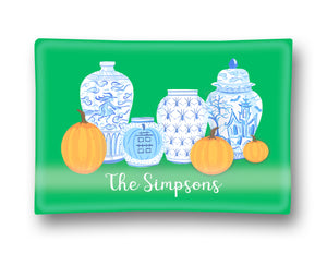 "Spooky Chinoiserie Personalized Halloween Glass Trinket Dish, 5""x7"", Green"
