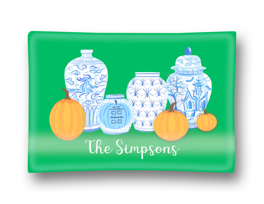 Spooky Chinoiserie Personalized Halloween Glass Trinket Dish, 5