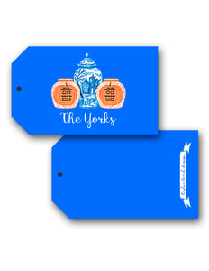 Spooky Chinoiserie Personalized Halloween Hang Tags, Blue Moon