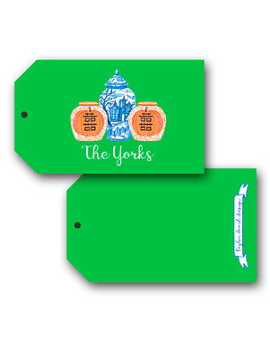 Spooky Chinoiserie Personalized Halloween Hang Tags, Ghoulish Green