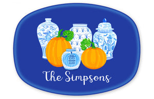 Spooky Chinoiserie Personalized Halloween Melamine Platter, Blue