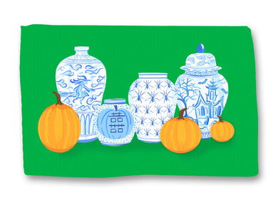 Spooky Chinoiserie Halloween Lightweight Cotton Rug, Green