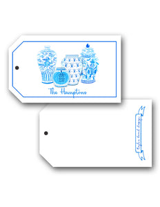 Spooky Chinoiserie Personalized Hang Tags, Blue & White