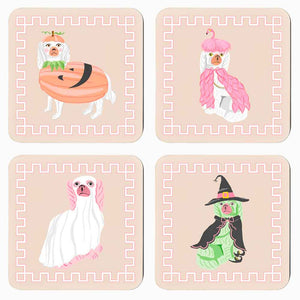 *SALE* Spooky Staffies Cork Backed Coasters - Set of 4