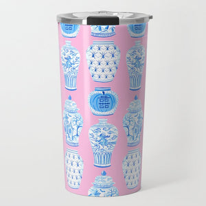 Spooky Chinoiserie Halloween Travel Tumbler, Pink