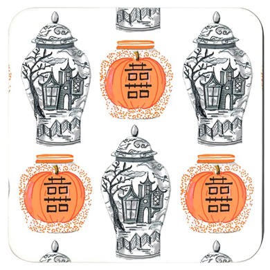 Spooky Chinoiserie Ginger Jars Cork Backed Coasters - Set of 4, (3) colors available