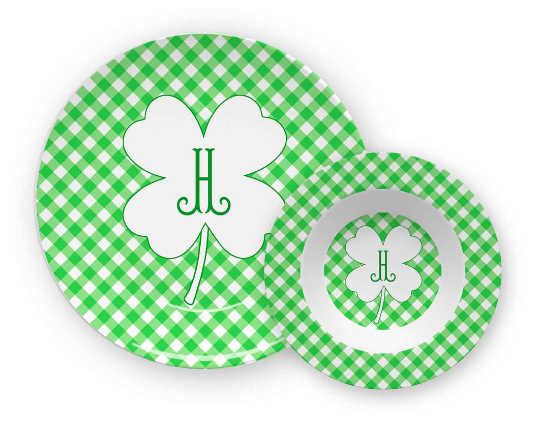 Gingham & Green St. Patrick's Day Personalized Children's Melamine Plate & Bowl Set