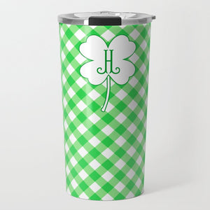 Gingham & Green Personalized St. Patrick's Day Travel Tumbler