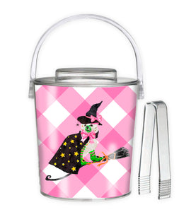 **SALE** Staffie Witch Halloween 3 Qt. Acrylic Ice Bucket, Pink