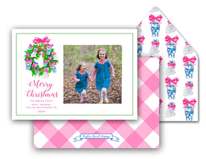 "Chinoiserie Christmas Personalized Photo Holiday Card, 5.5""x8.5"" A9 Size"