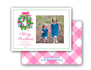 "Chinoiserie Christmas Personalized Photo Holiday Card, 5"" x 7"" A7 Size"