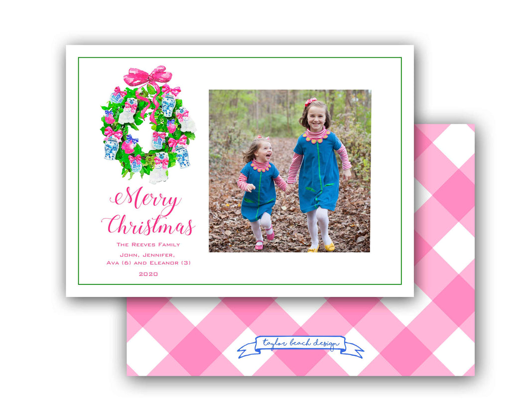 Chinoiserie Christmas Personalized Photo Holiday Card, 5.5