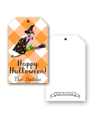 Staffie Witch Personalized Hang Tags, Orange