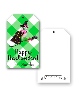 Staffie Witch Personalized Hang Tags, Green
