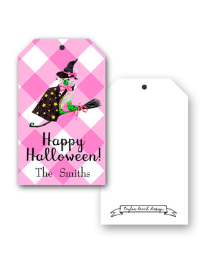 Staffie Witch Personalized Hang Tags, Pink