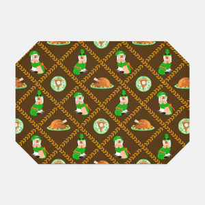 Thanksgiving Pilgrim Pooches Set of (2) Non-Personalized Fabric Placemats, Autumn