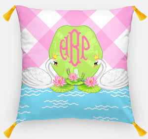 "Swan Lake Euro Pillow & Insert, Pink Skies 26""x26"""