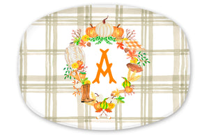 Personalized, Custom Fall Crest Melamine Platter, Taupe