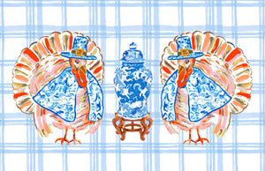 Chinois Turkey Thanksgiving Paper Tear-away Placemat Pad, Delft