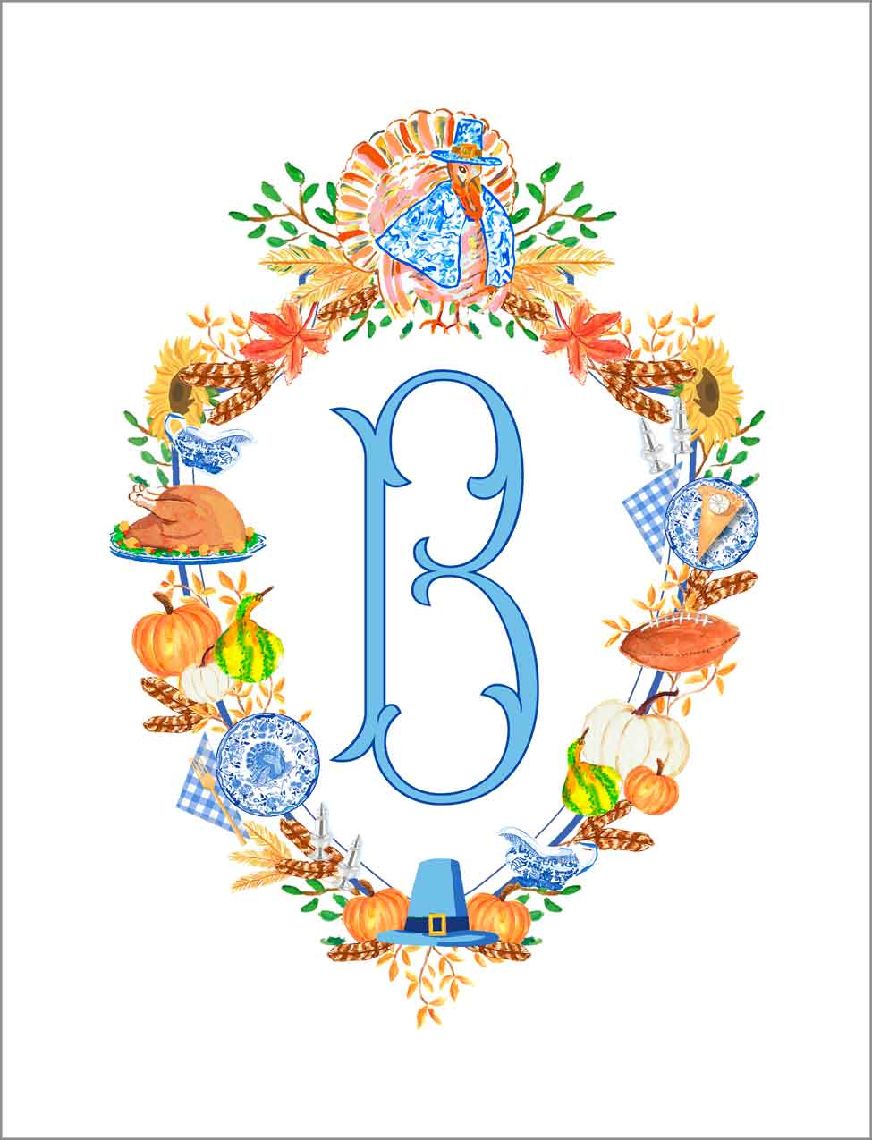Thanksgiving Crest Personalized Gift Sticker Label